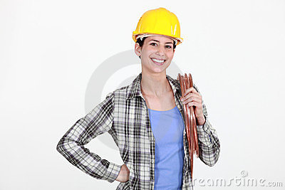 Female laborer on white background