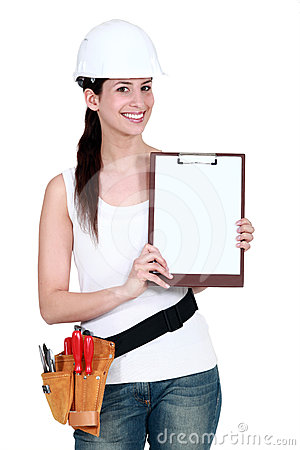 Female labourer with clipboard