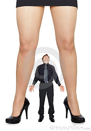 Female legs and amazed man