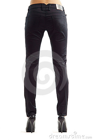 Female legs in black