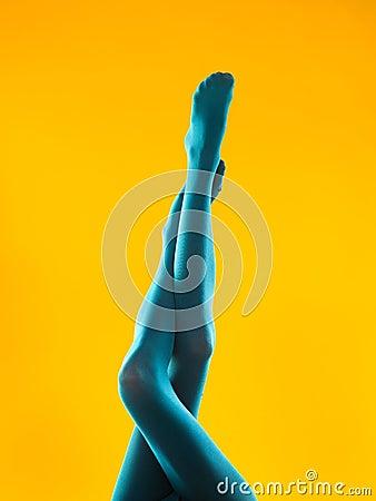 Female legs in blue pantyhose