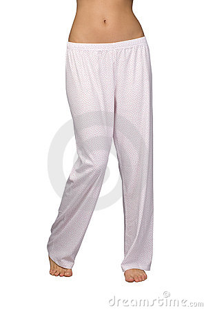 Female legs in pajama pants isolated on white