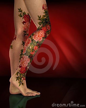Female Legs Red Flower Tattoos