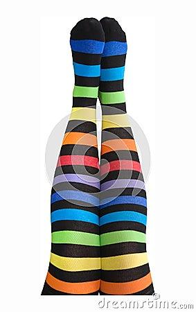 Female legs in stripy stockings