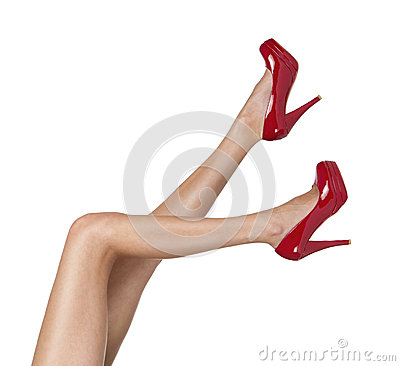 Free Female Legs With Red High Heels Royalty Free Stock Photography - 27539127