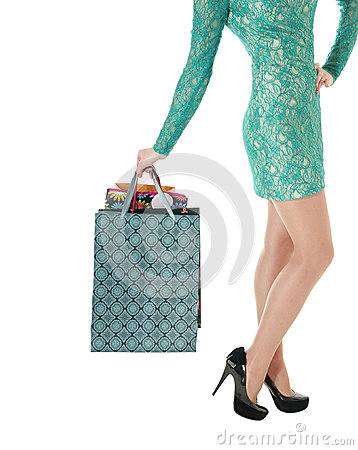 Free Female Long Legs In Black Shoes And Shopping Gift Bags. Royalty Free Stock Image - 29402646