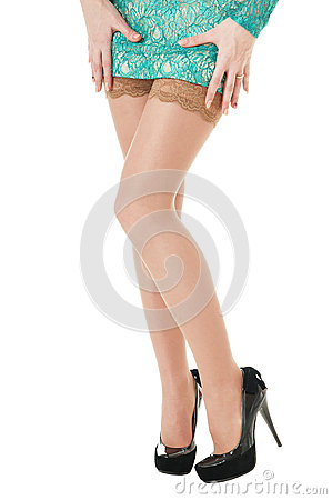 Free Female Long Legs  Shod In Black Shoes With High Heels. Stock Photography - 29402682