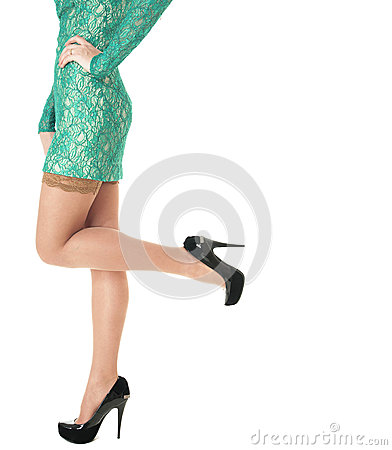 Free Female Long Legs  Shod In Black Shoes With High Heels. Royalty Free Stock Photography - 29402697