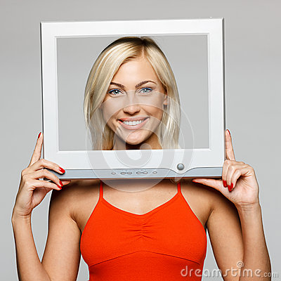 Female Looking Through The Screen Frame Royalty Free Stock Photography - Image: 26430747