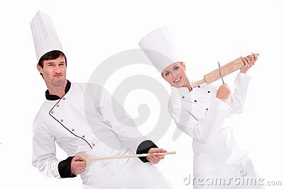 Female and male chefs