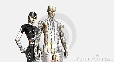 Female and male cyborg