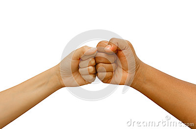 Female and male  people giving a fist bump