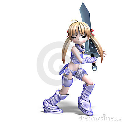 Female manga paladin with huge sword. 3D