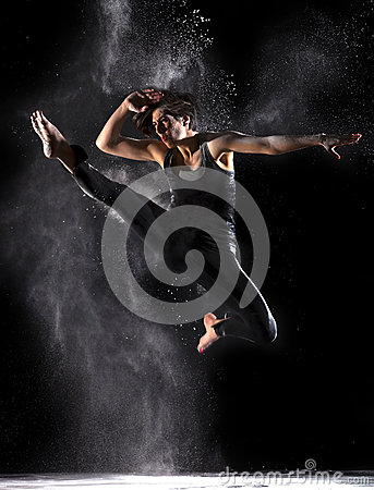 Female Martial Artist with Powder Jump Front Kick