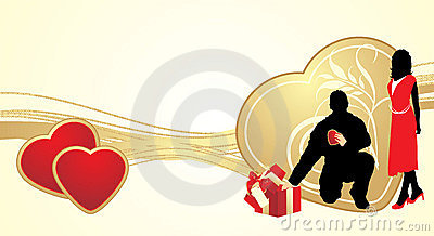 Female and masculine silhouettes wilh hearts
