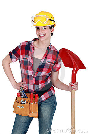 Female mason with shovel