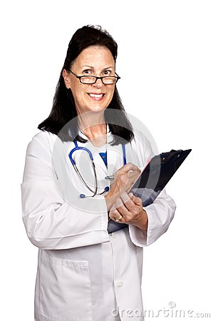 Female Mature Doctor Smiling Holding Clipboard