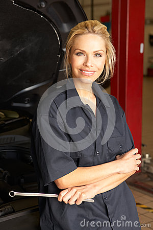 Female mechanic at work