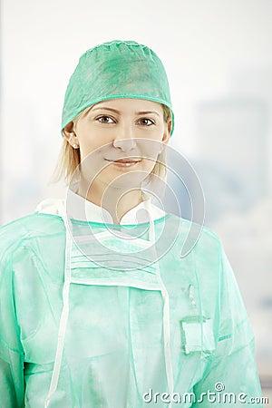 Female medical doctor in scrub suit