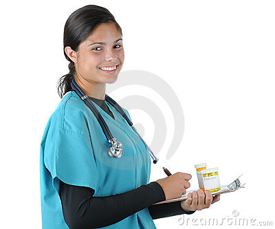 Female medical professional with Medicine
