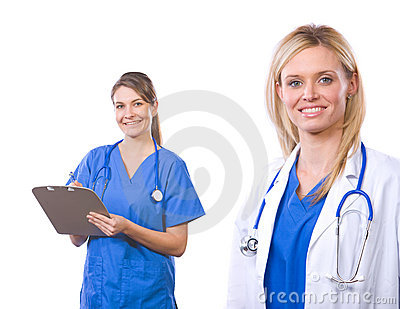 Female medical team isolated on white