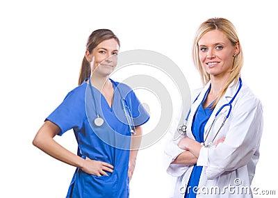Female medical team isolated on white