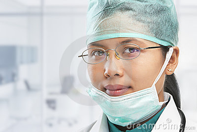 Female medical worker posing