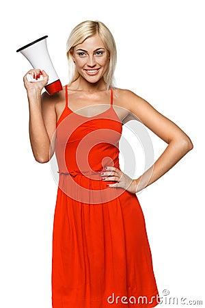 Female with megaphone