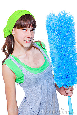 Female with microfiber duster