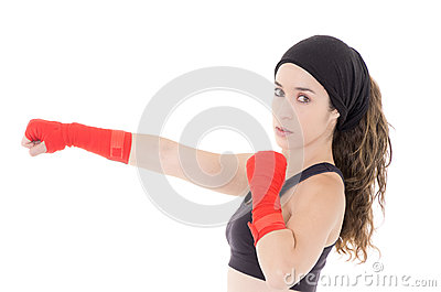 Female mixed martial arts fighter in MMA style