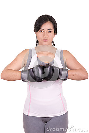 Free Female Mixed Martial Arts Fighter Wearing MMA Stock Images - 34602044