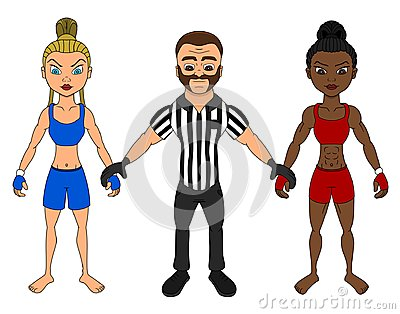 Female MMA fighters and a referee cartoon