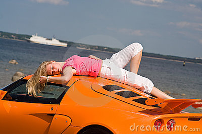 Female model and a car