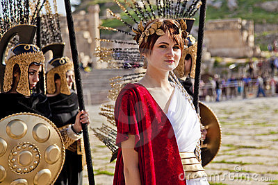 Female model dressed in ancient Roman costume Editorial Image