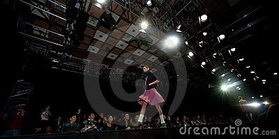 Female model at a fashion show on the catwalk (Rus Editorial Photo