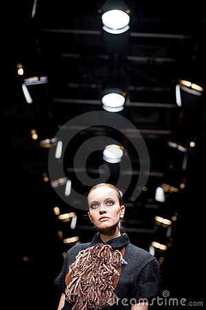 Female model at a fashion show by Persomage Collec Editorial Stock Image