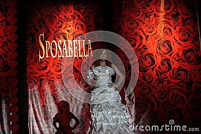 Female model on fashion show  in wedding dress Editorial Image