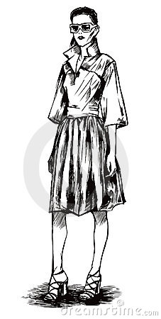 Female model in a graphic style