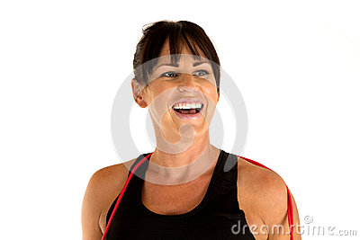 Female model smiling after a jump rope workout