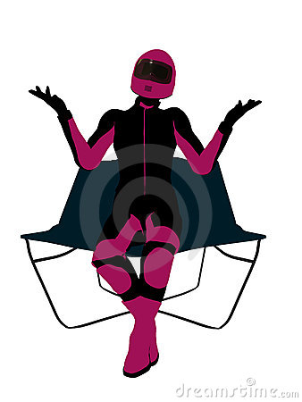 Female Motorcycle Rider on a chair Silhouette