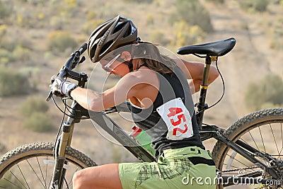 Female Mountain Bike Rider Editorial Photo