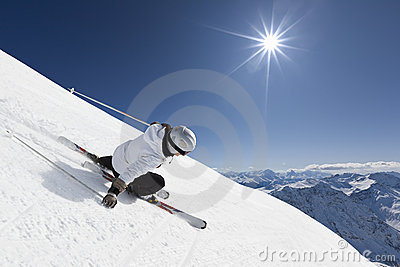 Female mountain skier