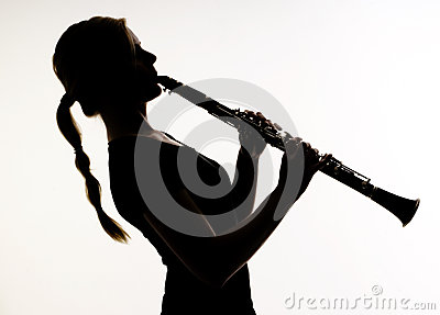 Female Musician Silhouette Woodwind Clarinet