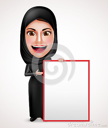 Female muslim arab holding and presenting an empty white board Vector Illustration