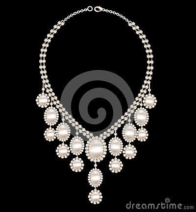 Female necklace wedding with pearls on a black bac