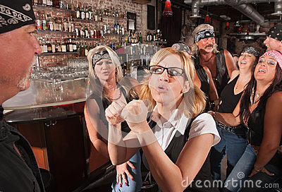 Female Nerd Confronting Man in Bar
