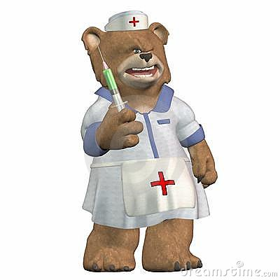 Female Nurse Bear with a Syringe