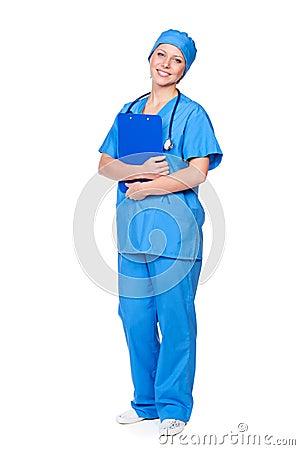 Female nurse holding pad