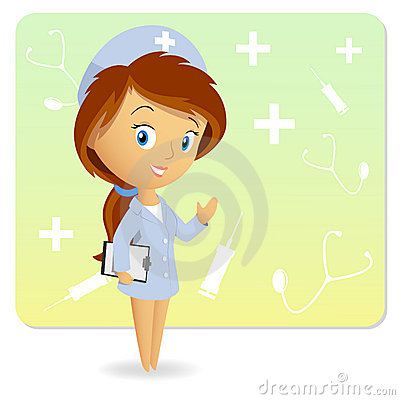 Female nurse with tablet notepad on background