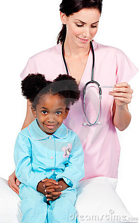 Female nurse taking little girl s temperature
